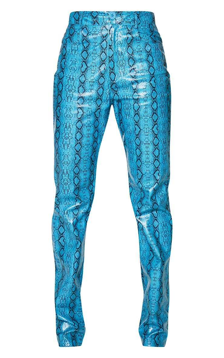 Light Blue Snake Print Faux Leather High Waisted Straight Leg Trousers 5
