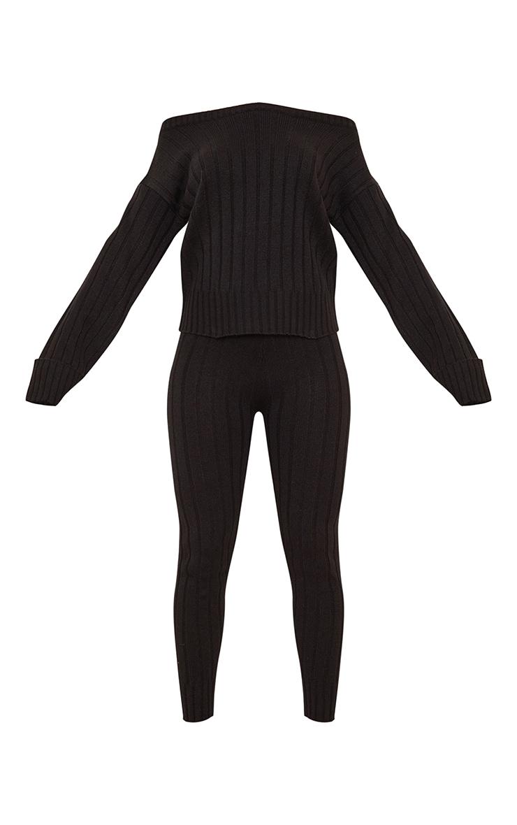 Black Off The Shoulder Sweater And Legging Lounge Set 5