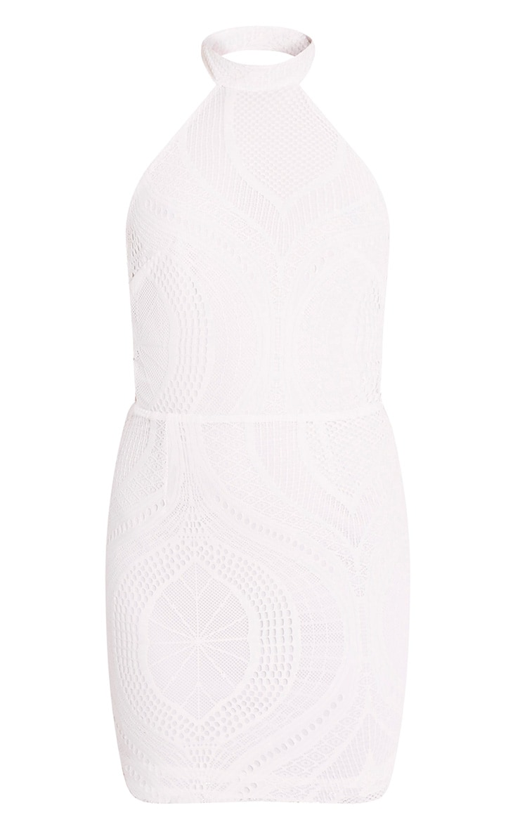 Kaitlan White High Neck Lace Up Side Bodycon Dress 3