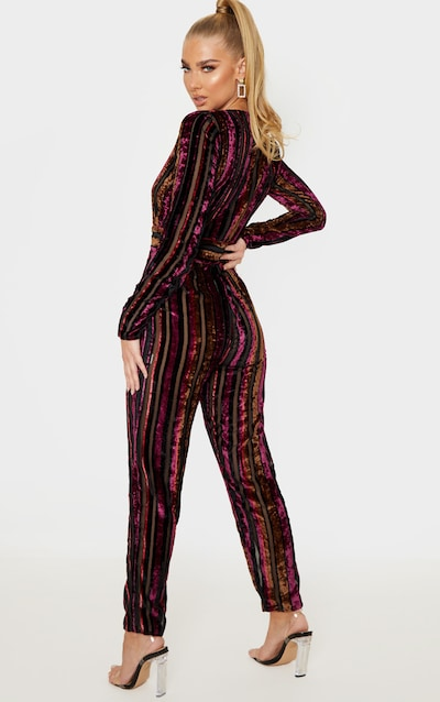 Burgundy Velvet Stripe Long Sleeve Plunge Jumpsuit