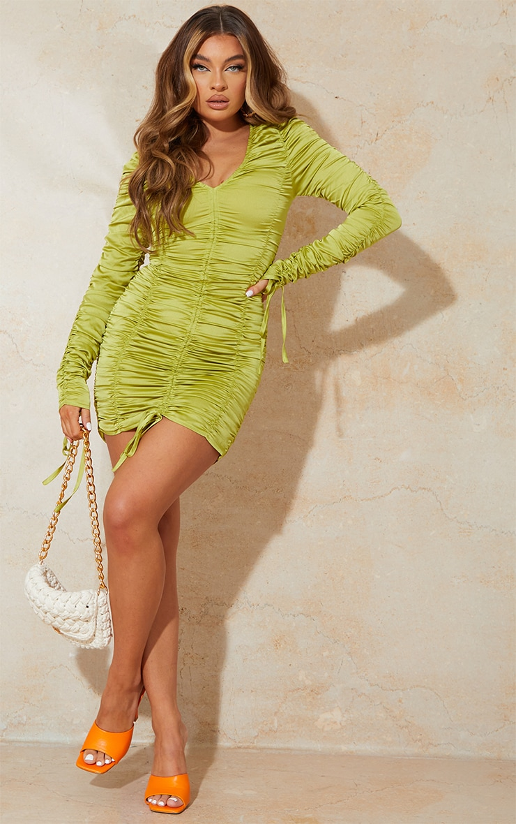 Olive Satin Long Sleeve Extreme Ruched Bodycon Dress 1