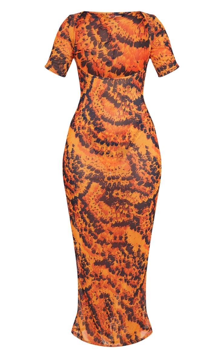 Orange Feather Short Sleeve Scoop Mesh Maxi Beach Dress 3