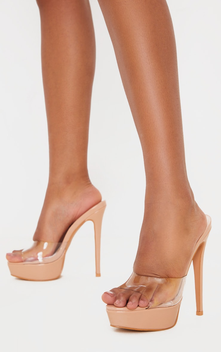 Nude High Platform Clear Mule Sandals 1