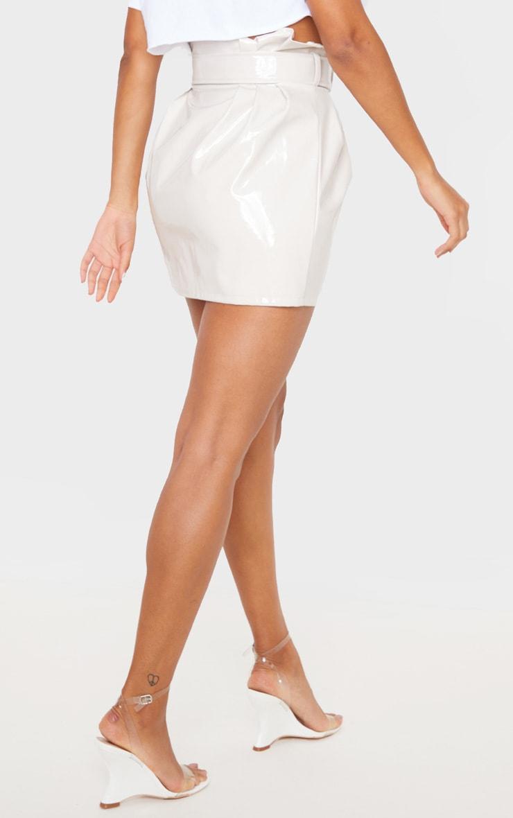 Stone Vinyl Belted Paperbag Mini Skirt  4