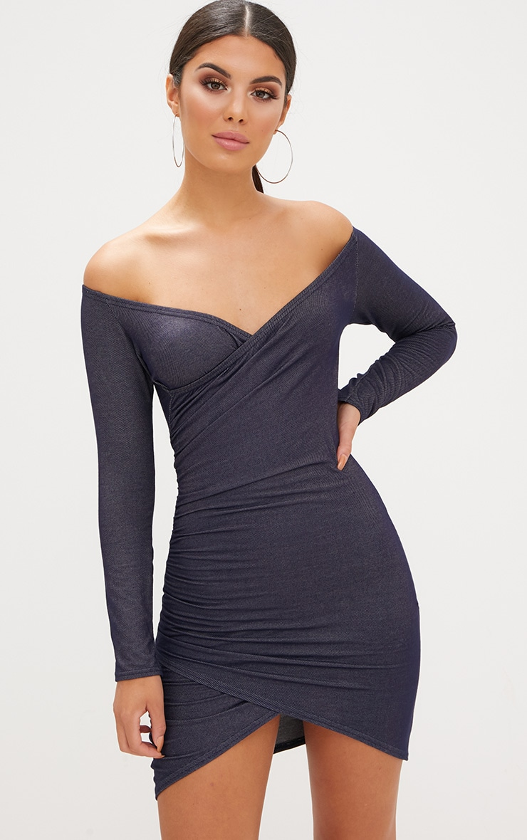 Blue Bardot Denim Look Ruched Front Bodycon Dress 1
