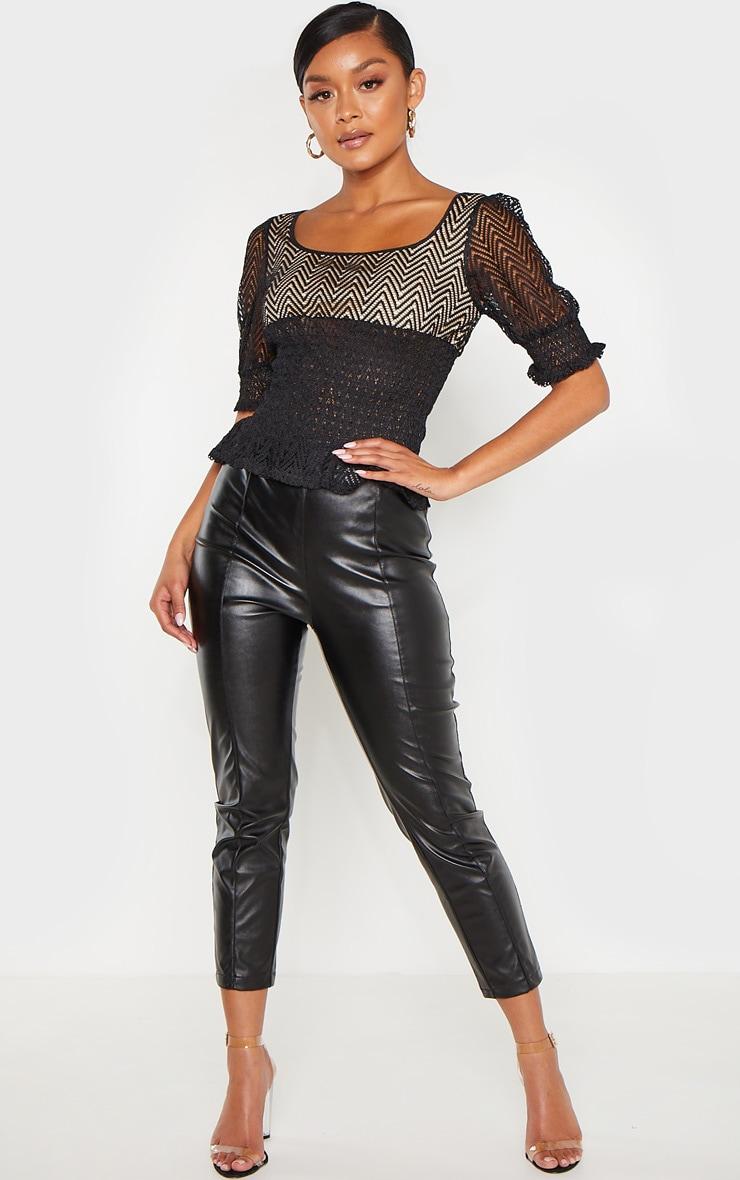 Black Shirred Detail Short Sleeve Blouse 4