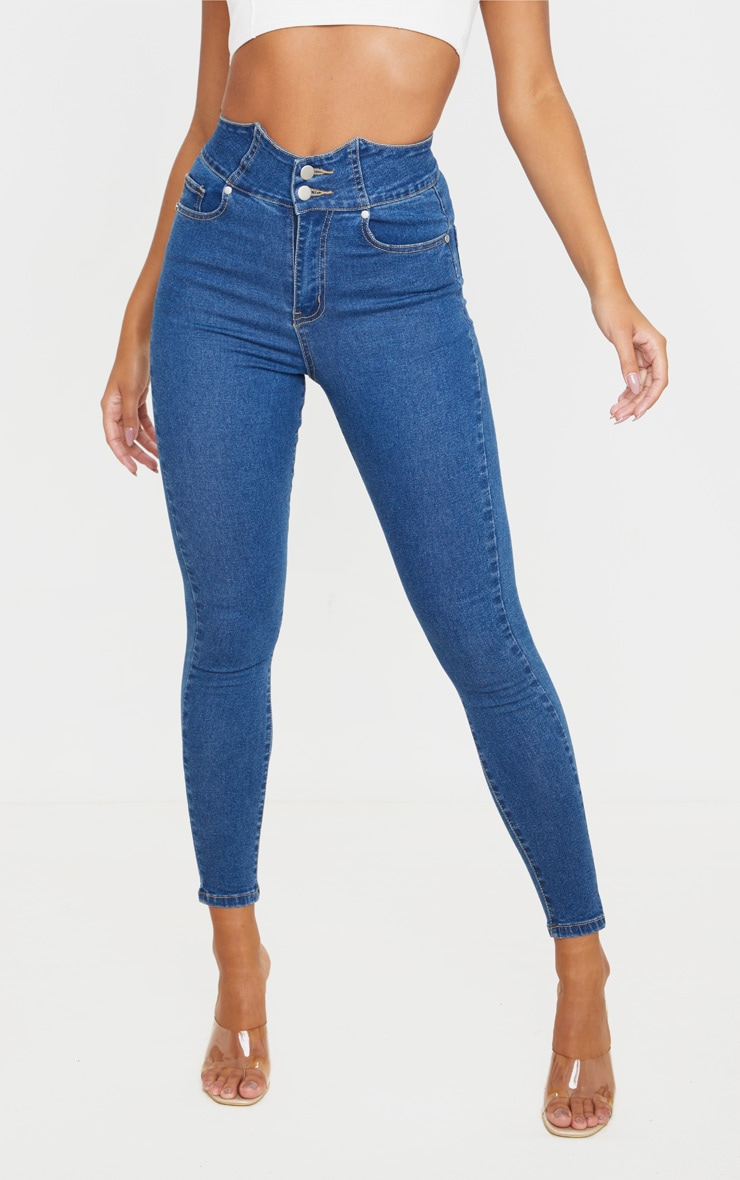Mid Blue Wash Super High Waist Disco Jeans 2