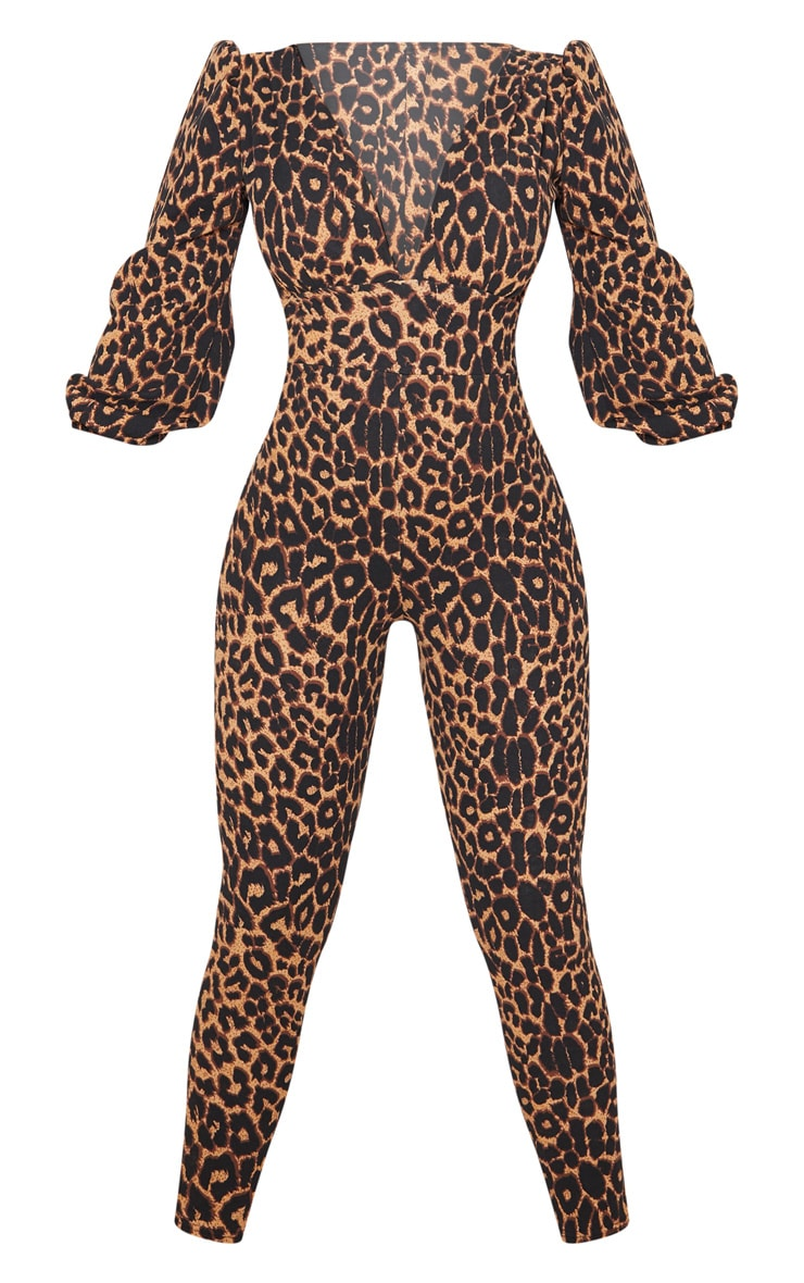Tan Leopard Print Plunge Balloon Sleeve Jumpsuit 3