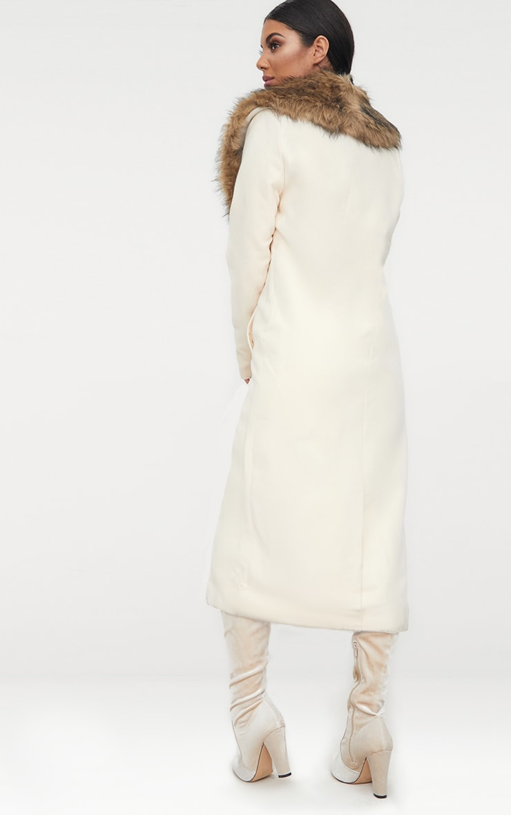 Cream Faux Fur Collar Double Breasted Coat 2