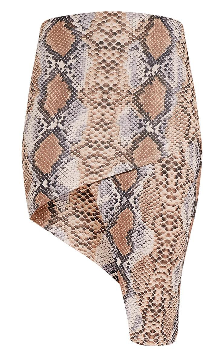 Chloe jupe midi portefeuille asymétrique à imprimé serpent camel 4