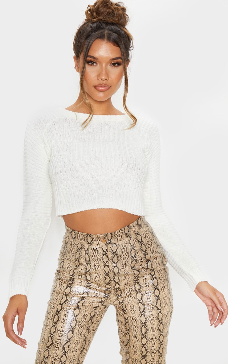 White Cropped Rib Knit Jumper 1