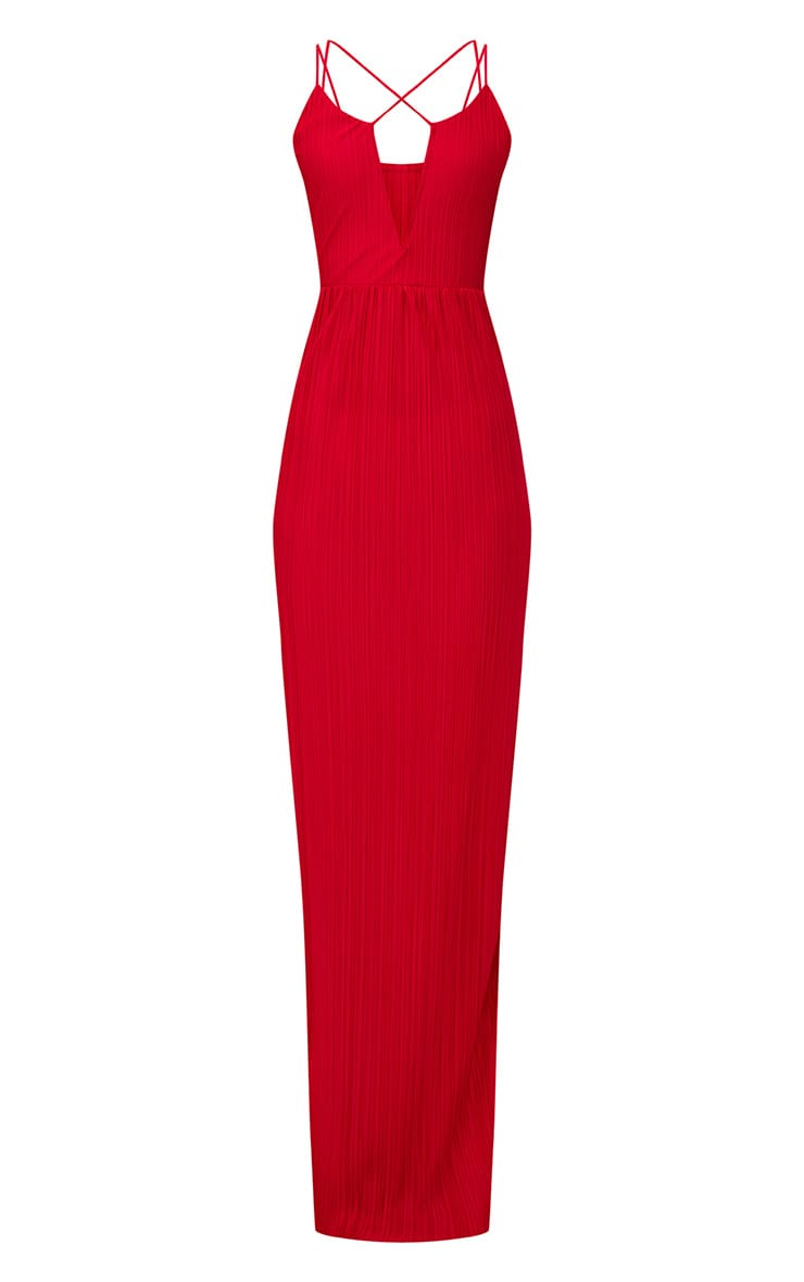 Red Pleated Cross Strap Maxi Dress 3