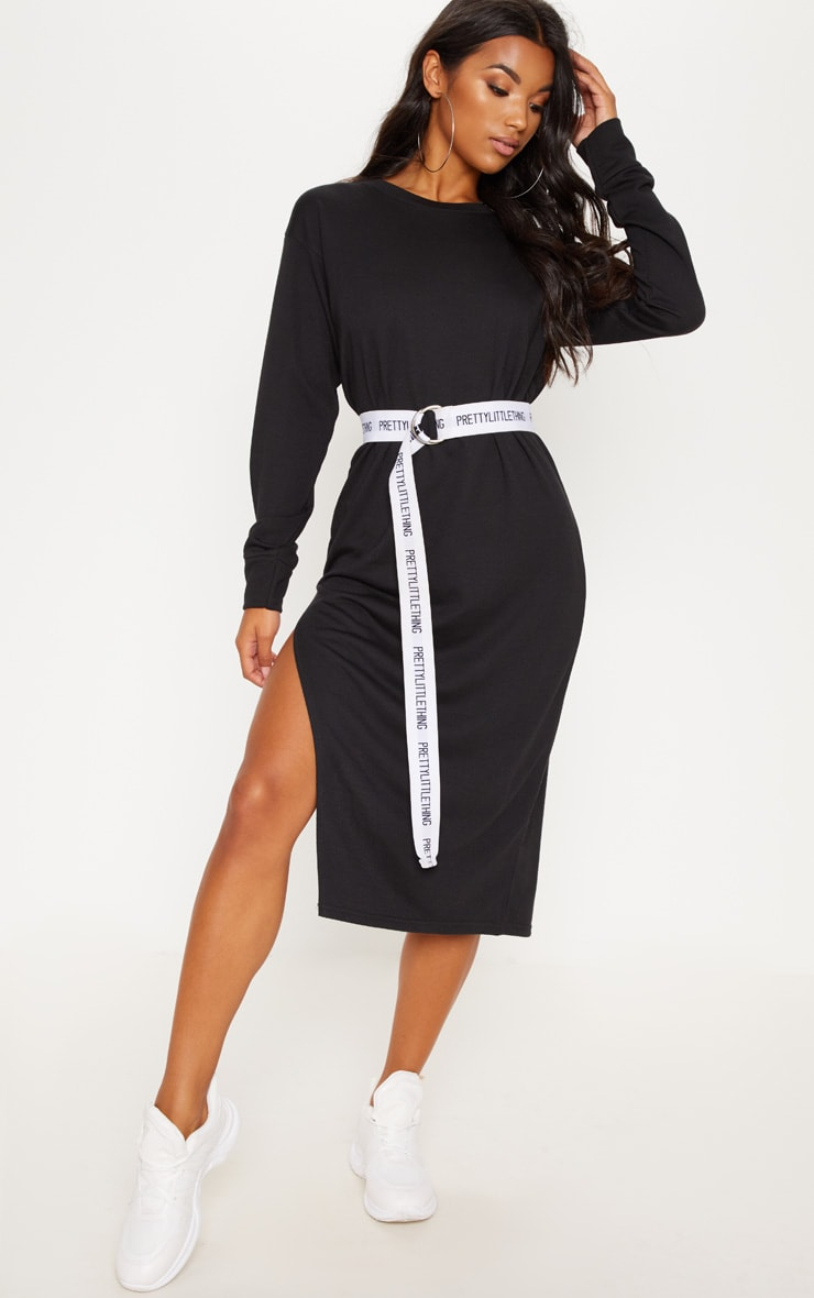 Black Oversized Side Split Midi Jumper Dress 1