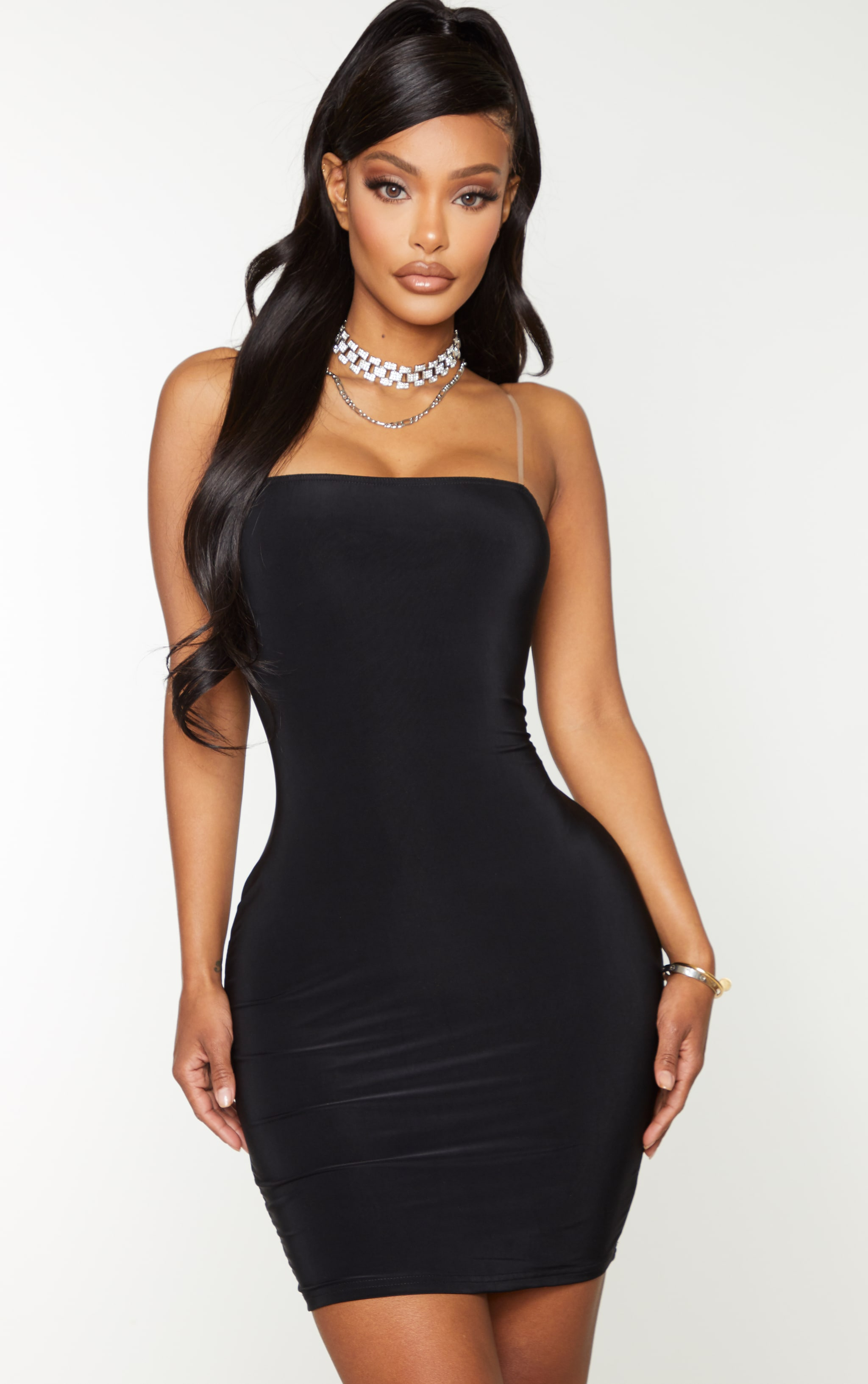 Shape Black Slinky Clear Strap Bodycon Dress 1