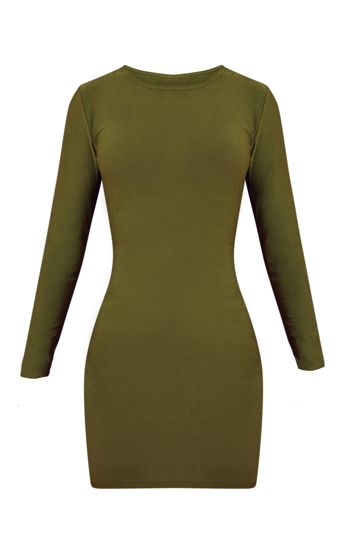 Khaki Long Sleeve Bodycon Dress 3
