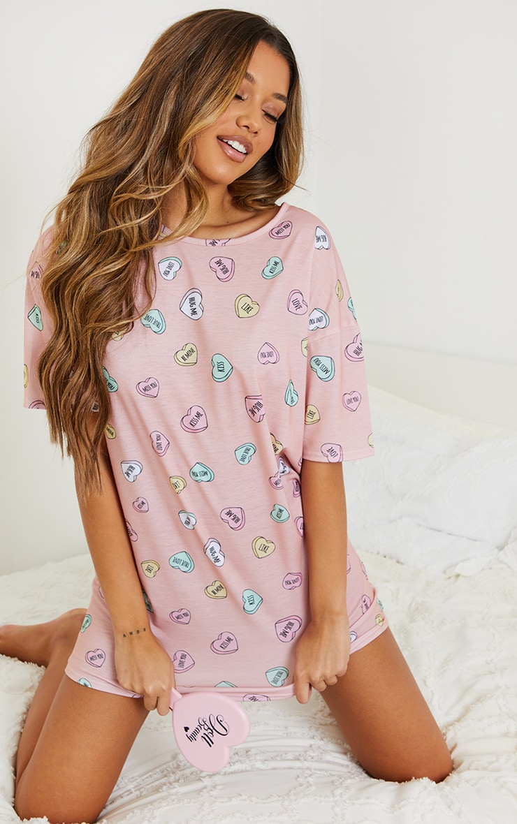 Peach Loveheart Print Oversized Nightie 3