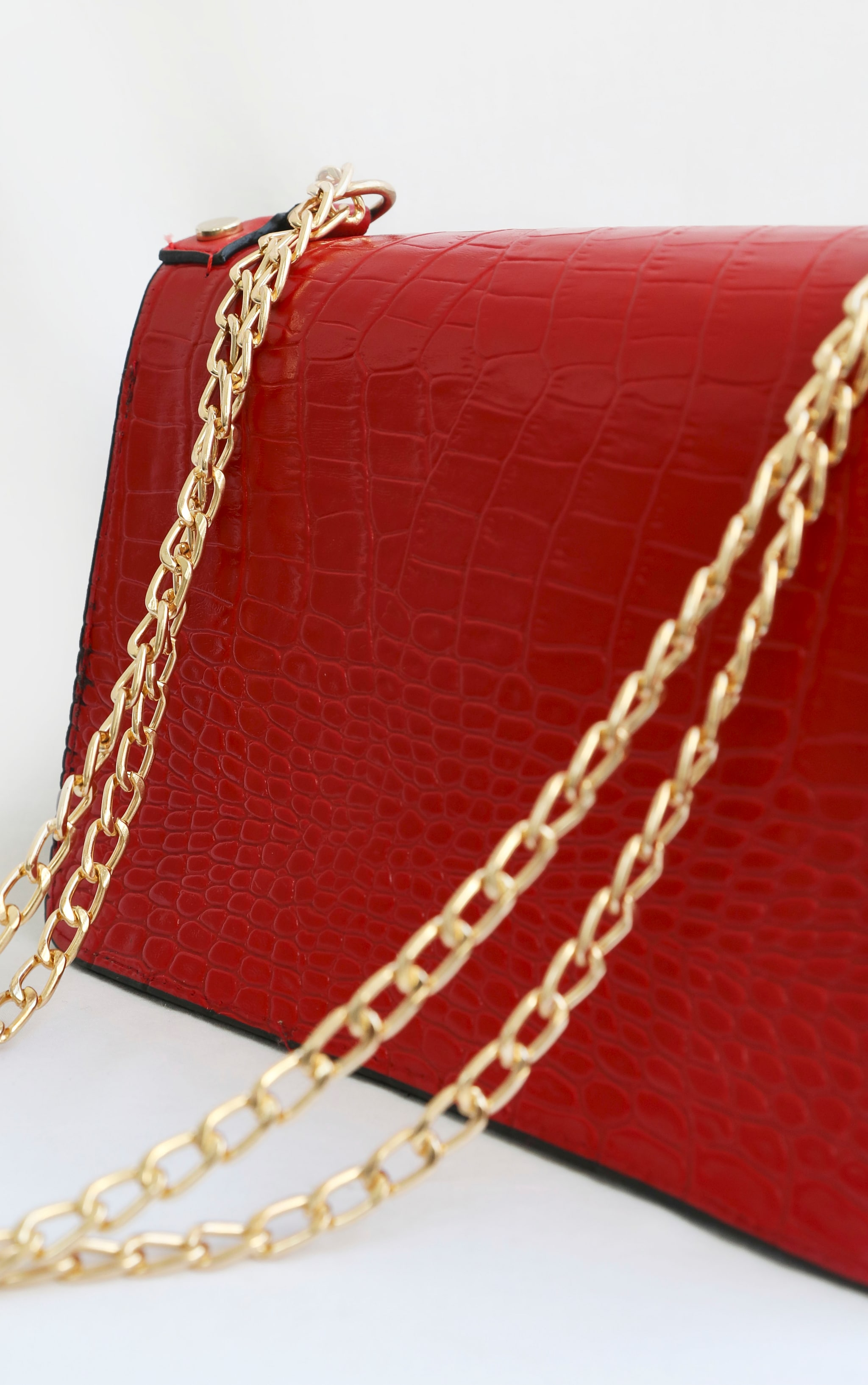 Red Studded Croc Cross Body Bag 3