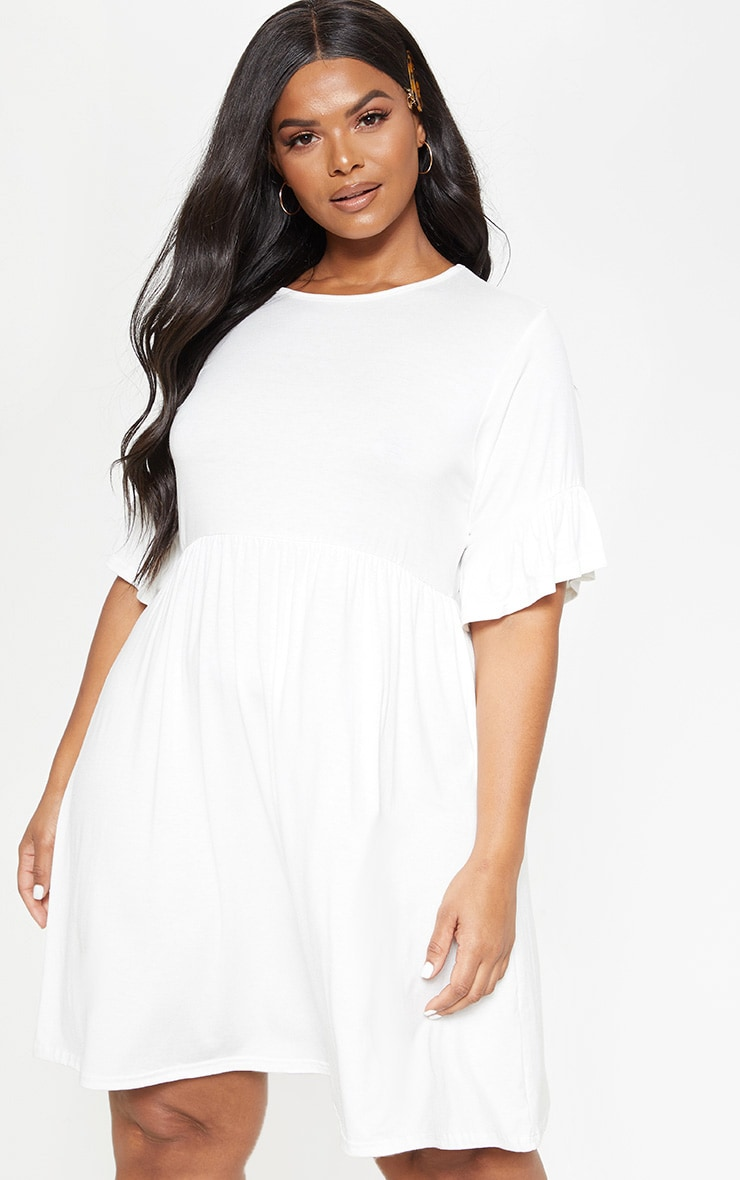 Plus White Frill Detail Smock Dress 1