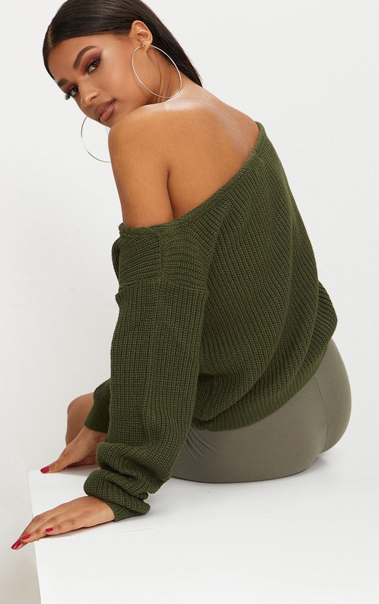 Khaki Off The Shoulder Crop Jumper 2