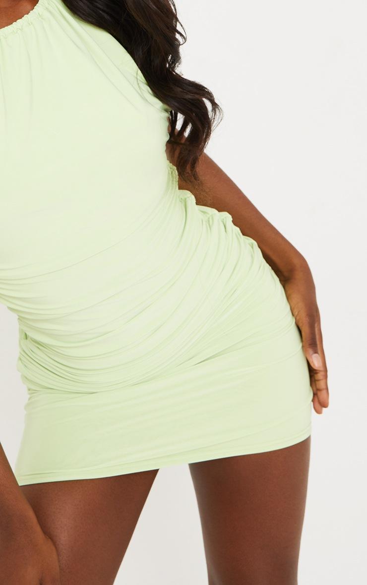 Tall - Robe moulante vert citron détail froncé 4