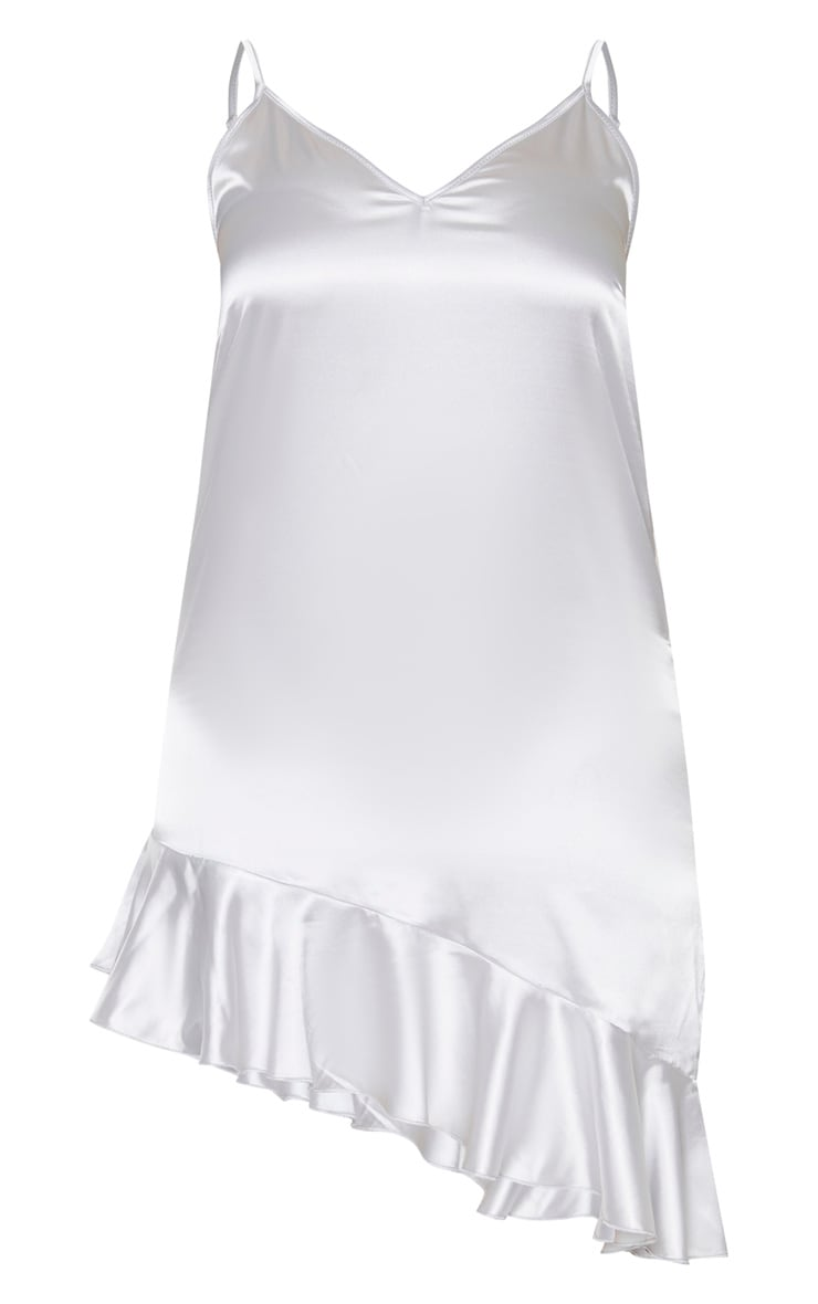 Plus Silver Satin Frill Detail Cami Dress 3