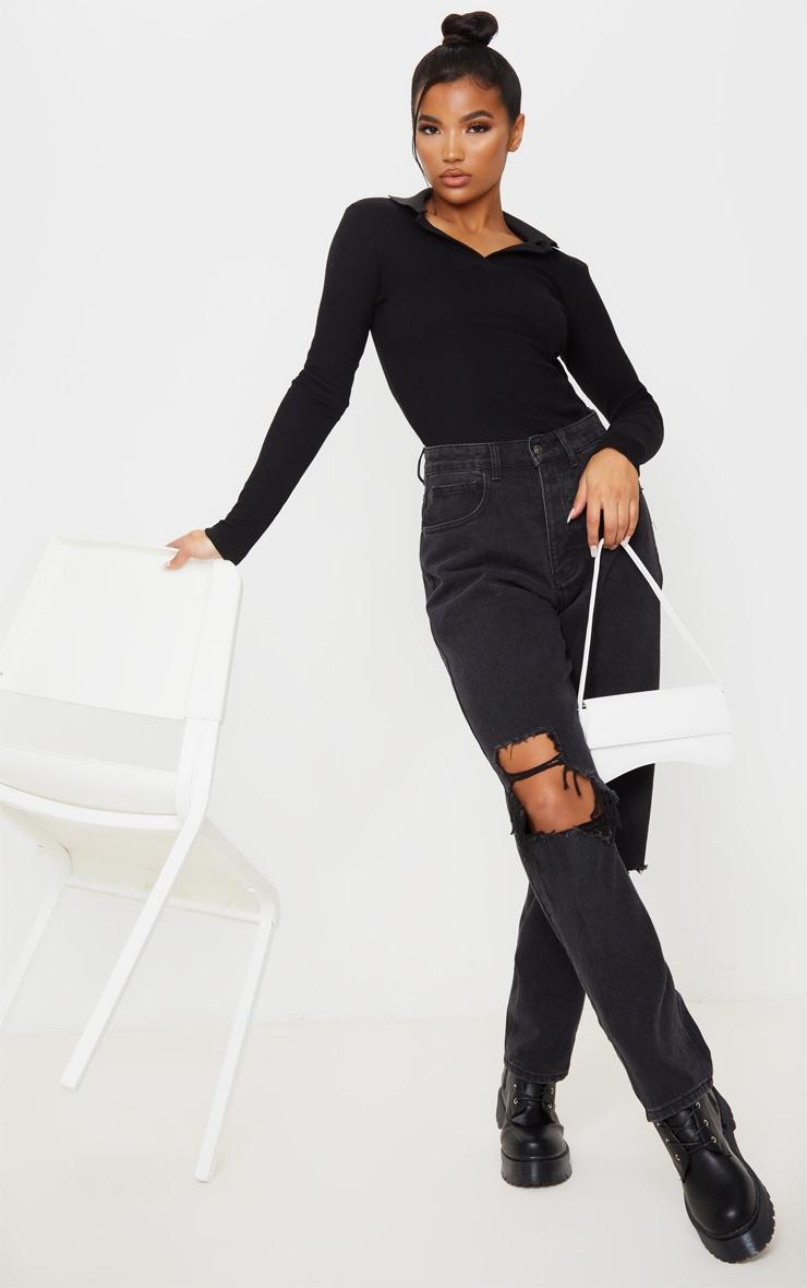 Black Rib Collar Long Sleeve Top 4
