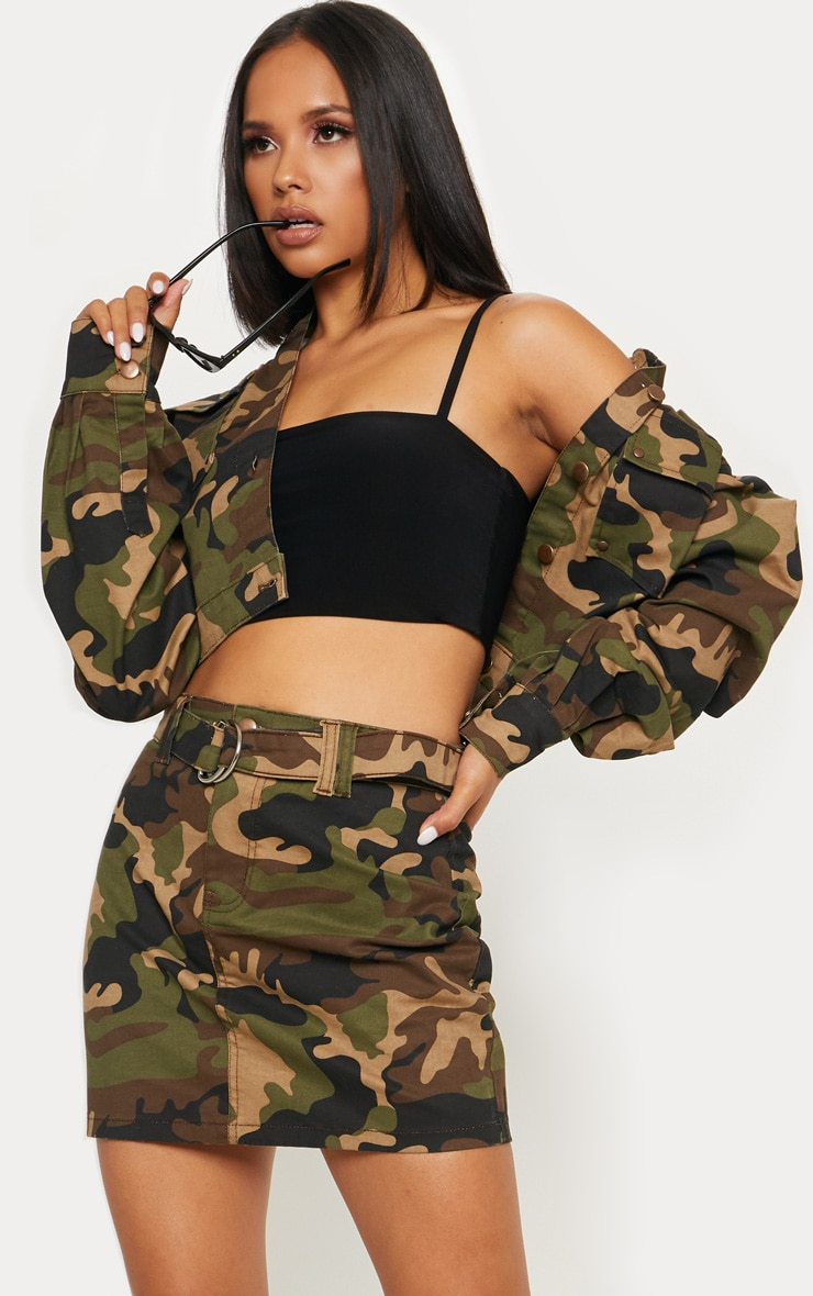 Camo O-Ring Belted Denim Skirt  1