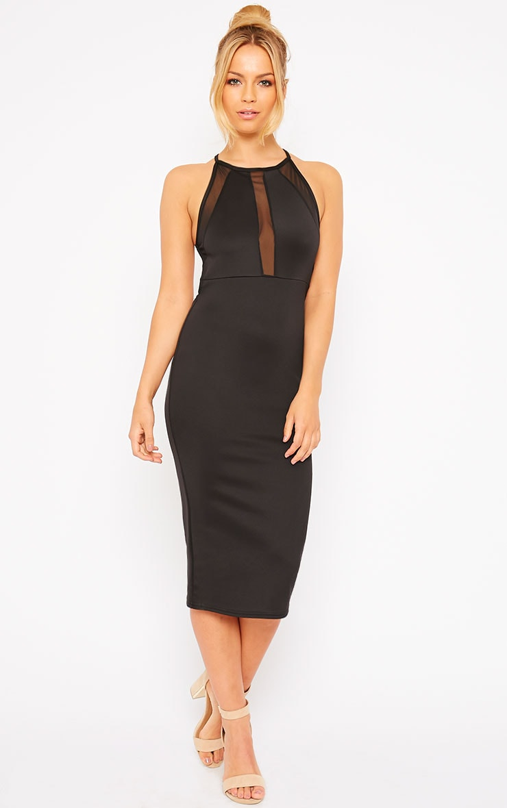 Naveen Black Mesh Front Midi Dress 3