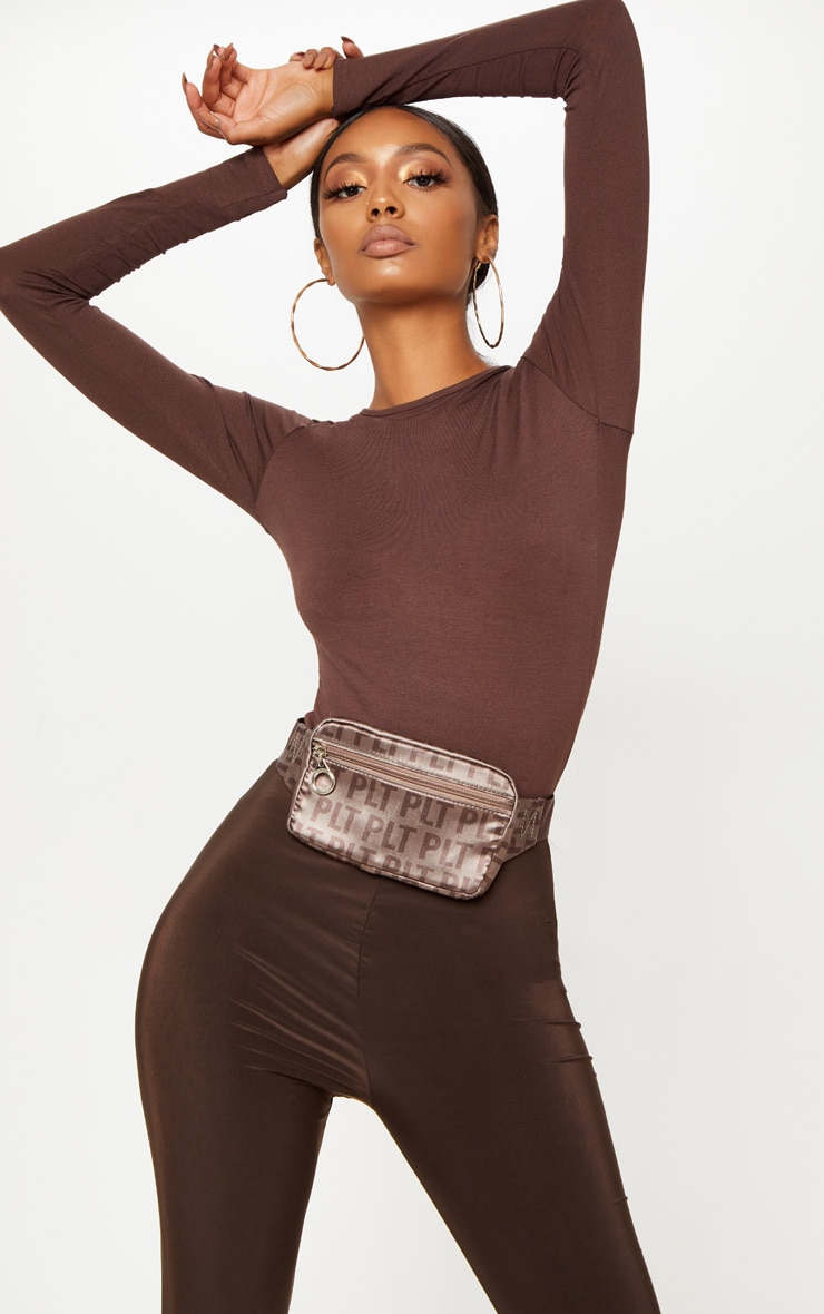 Basic Chocolate Fitted Long Sleeve T Shirt 1