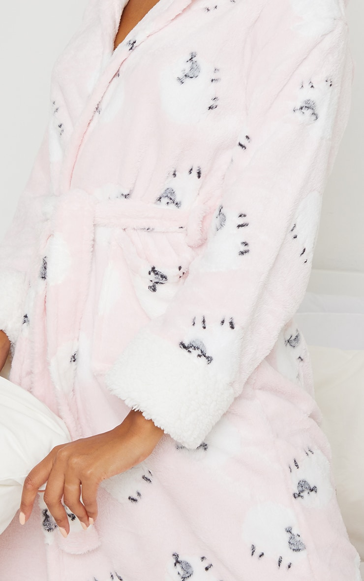 Pink Sheep Printed Hooded Dressing Gown 4