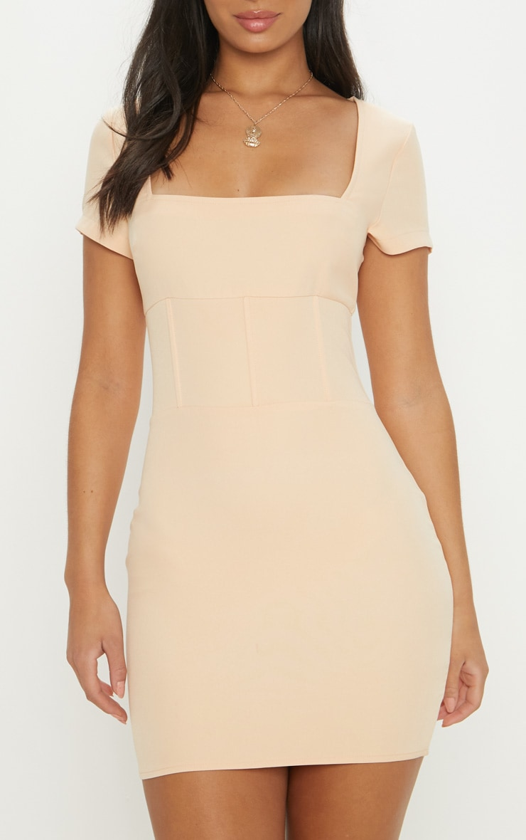Nude Square Neck Basque Detail Bodycon Dress 5