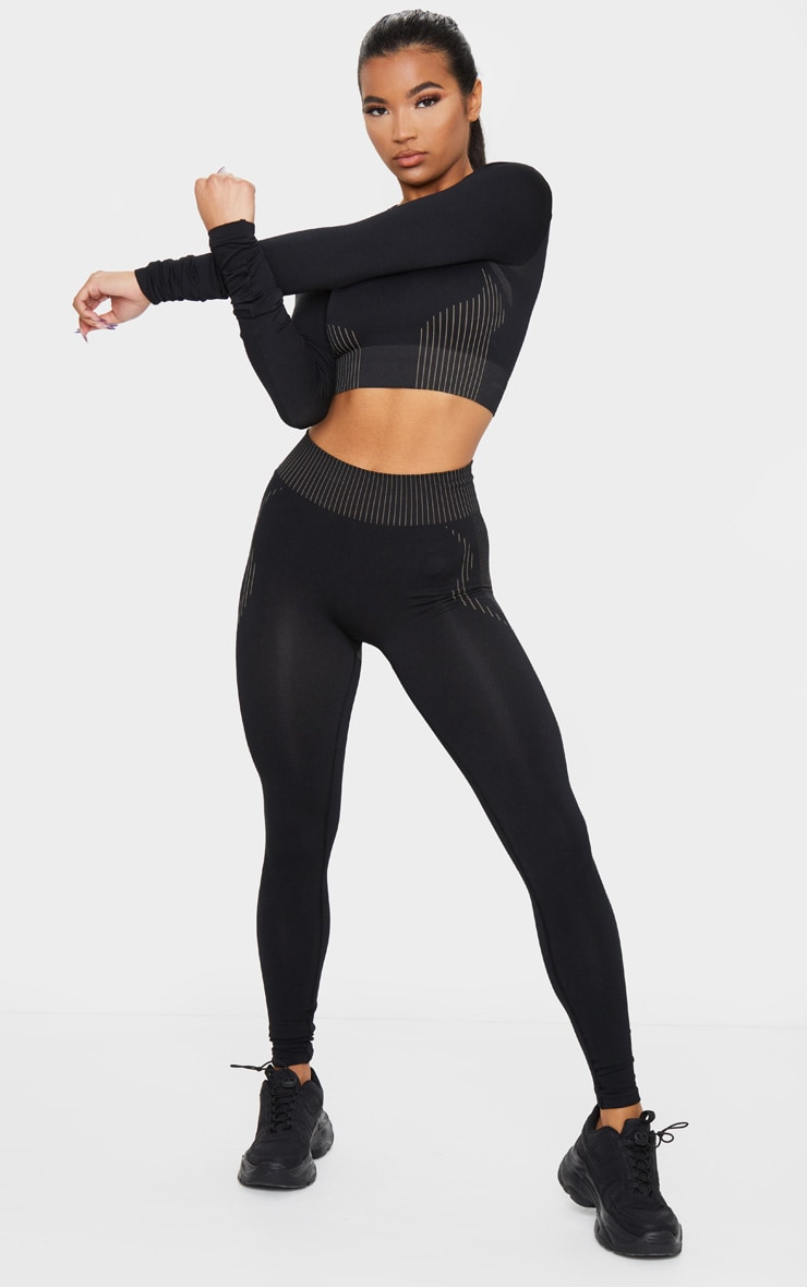 PRETTYLITTLETHING Black Contour Seamless Legging 1