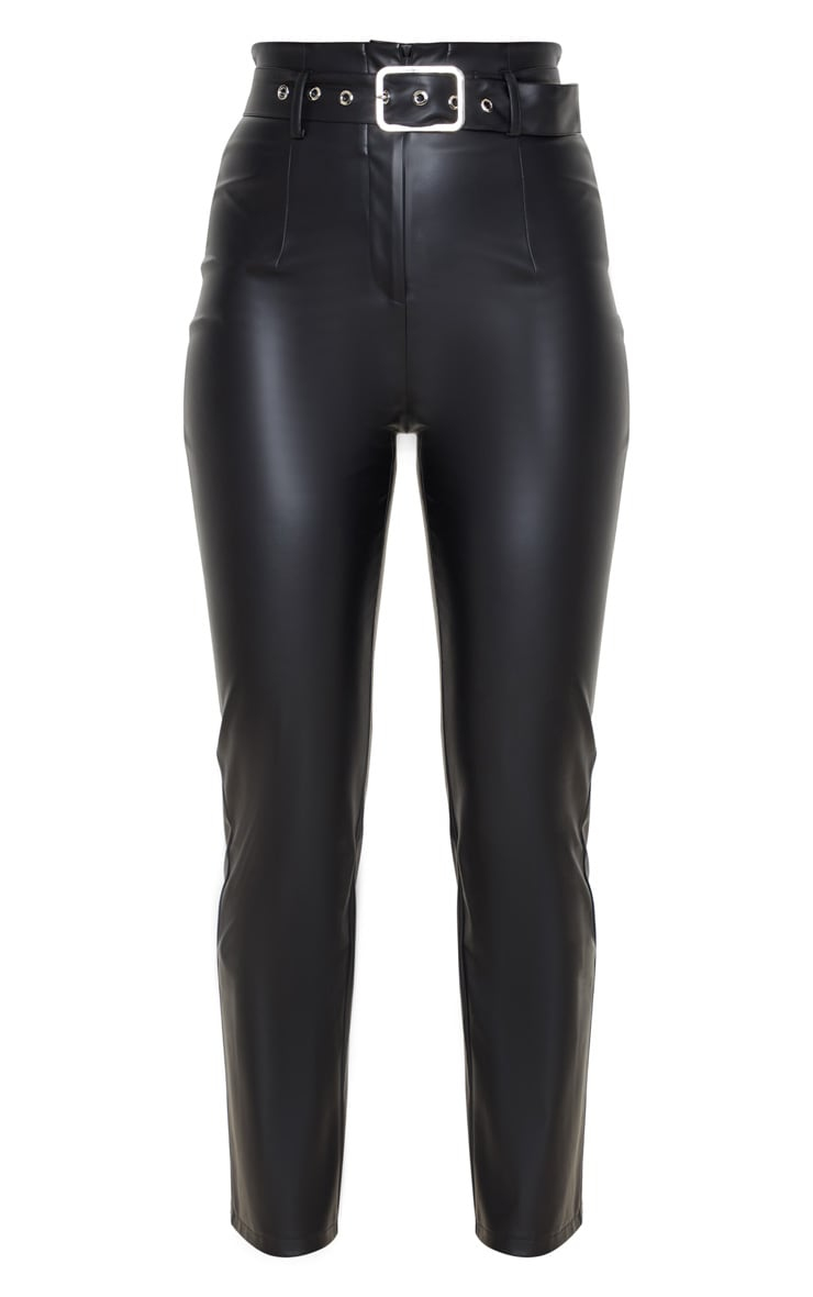 Black Belted Straight Leg Faux Leather Pants 5