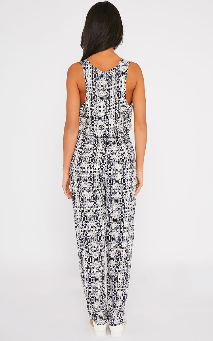 Mona Navy All Over Printed Jumpsuit 2