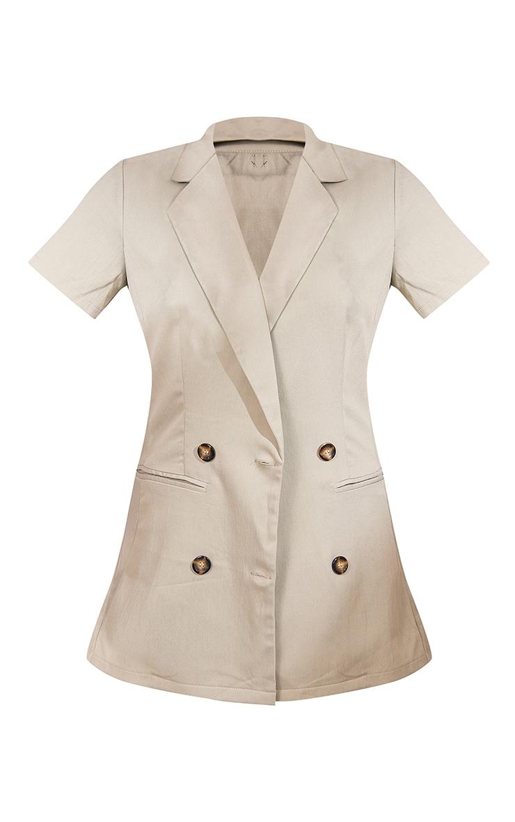 Sage Green Woven Double Breasted Short Sleeve Longline Blazer 5