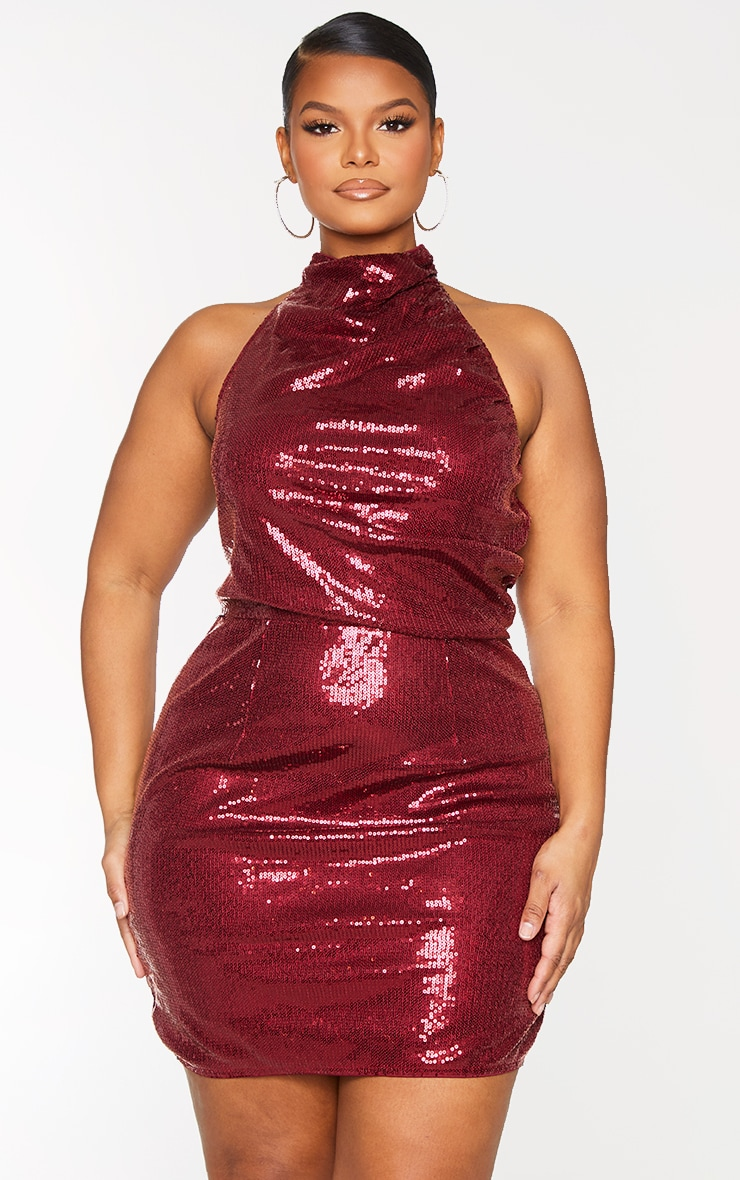 Plus Burgundy Sequin Halterneck Backless Bodycon Dress 1
