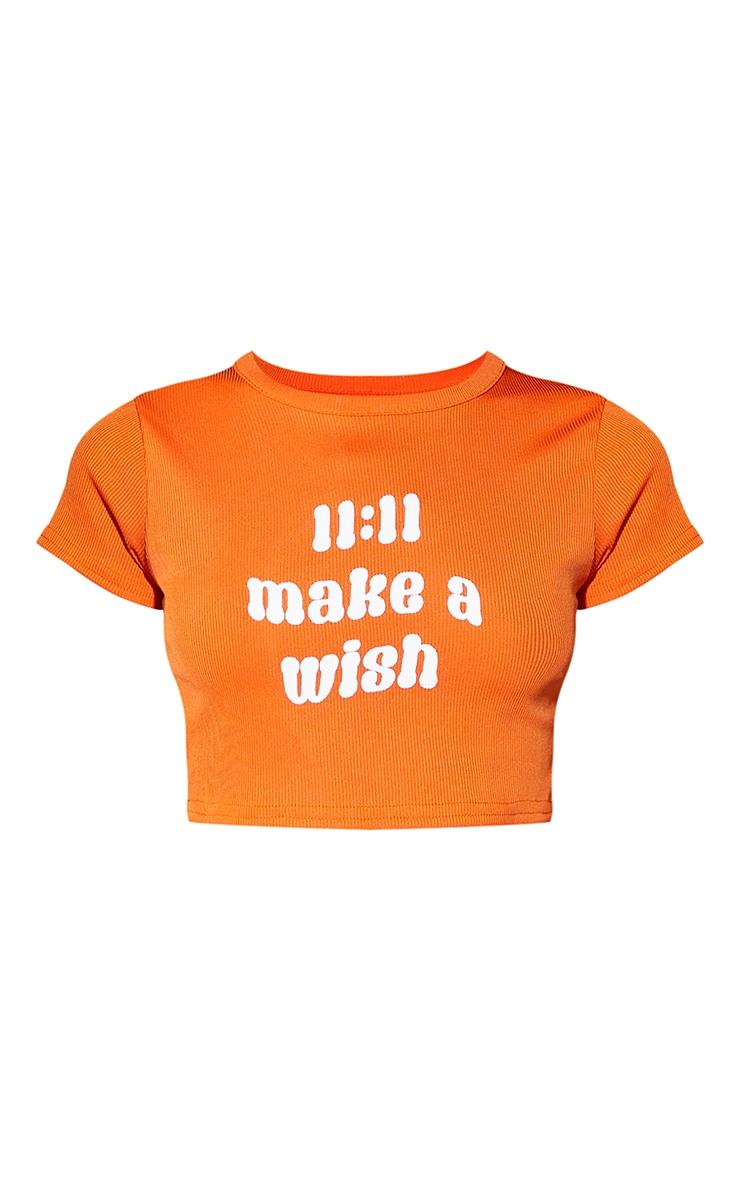 Petite Orange 11:11 Slogan Rib T Shirt 5