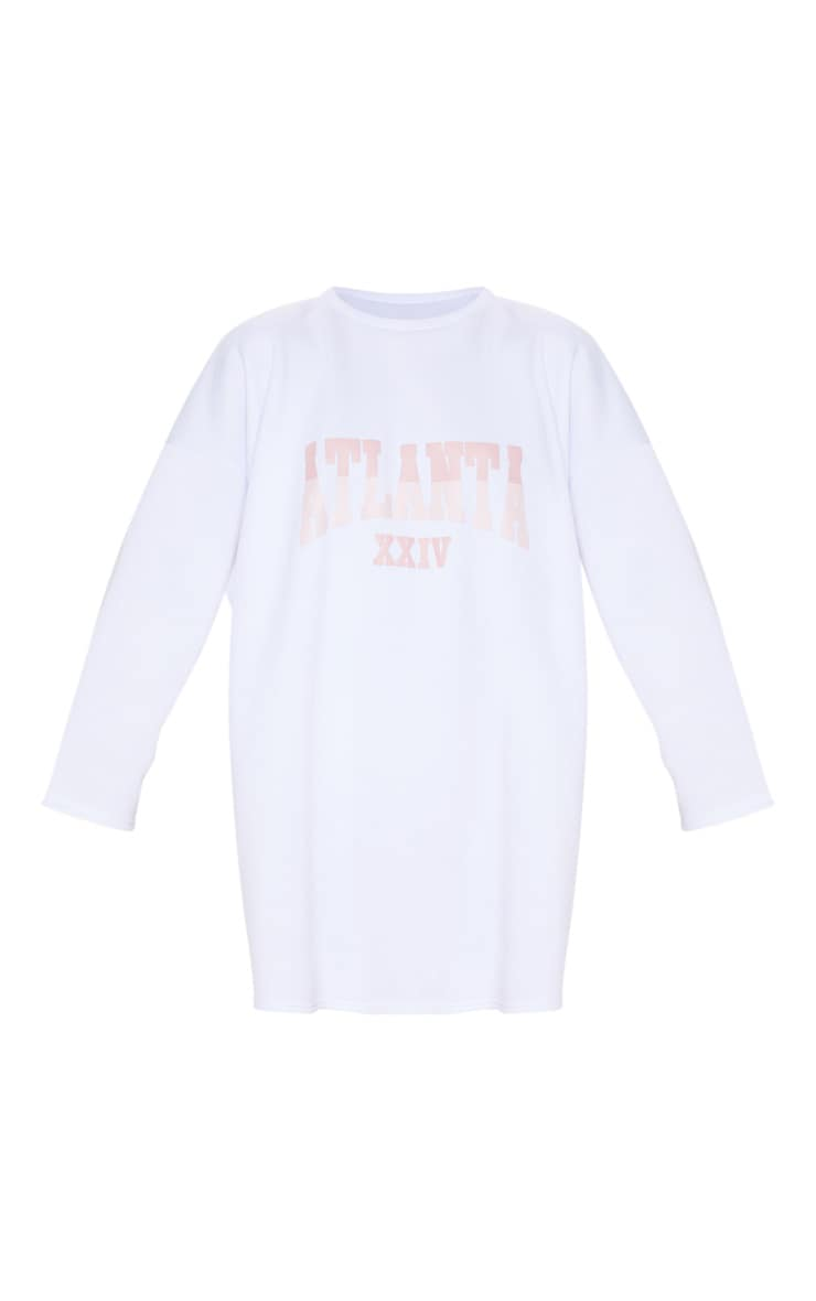 White Atlanta Slogan Oversized Jumper Dress 4