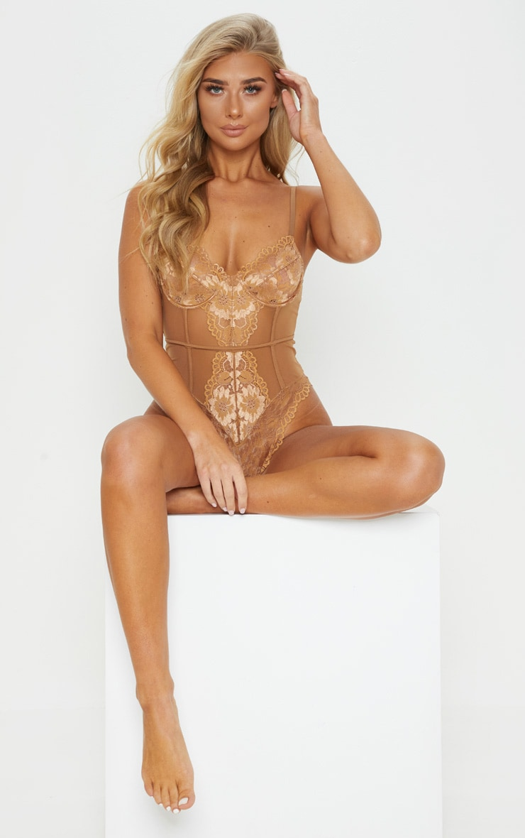 Mocha Underwired Cage Detail Lace Body 1