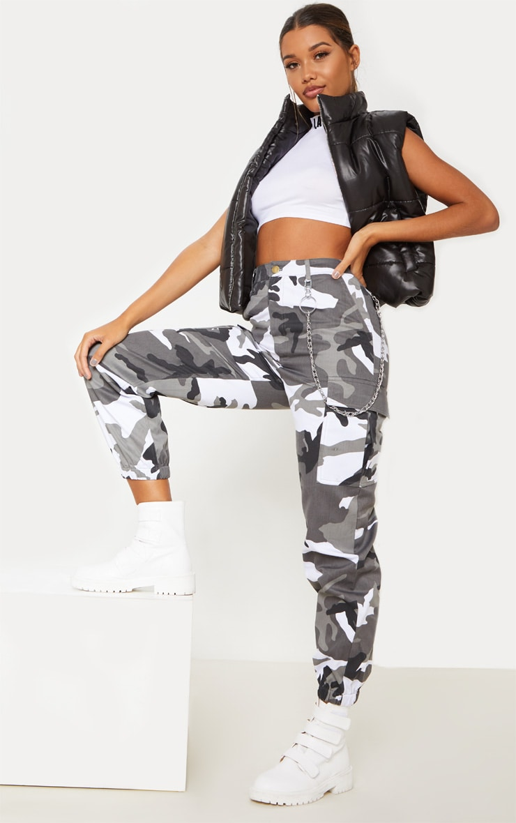 Grey Camo Pocket Detail Cargo Trouser  by Prettylittlething