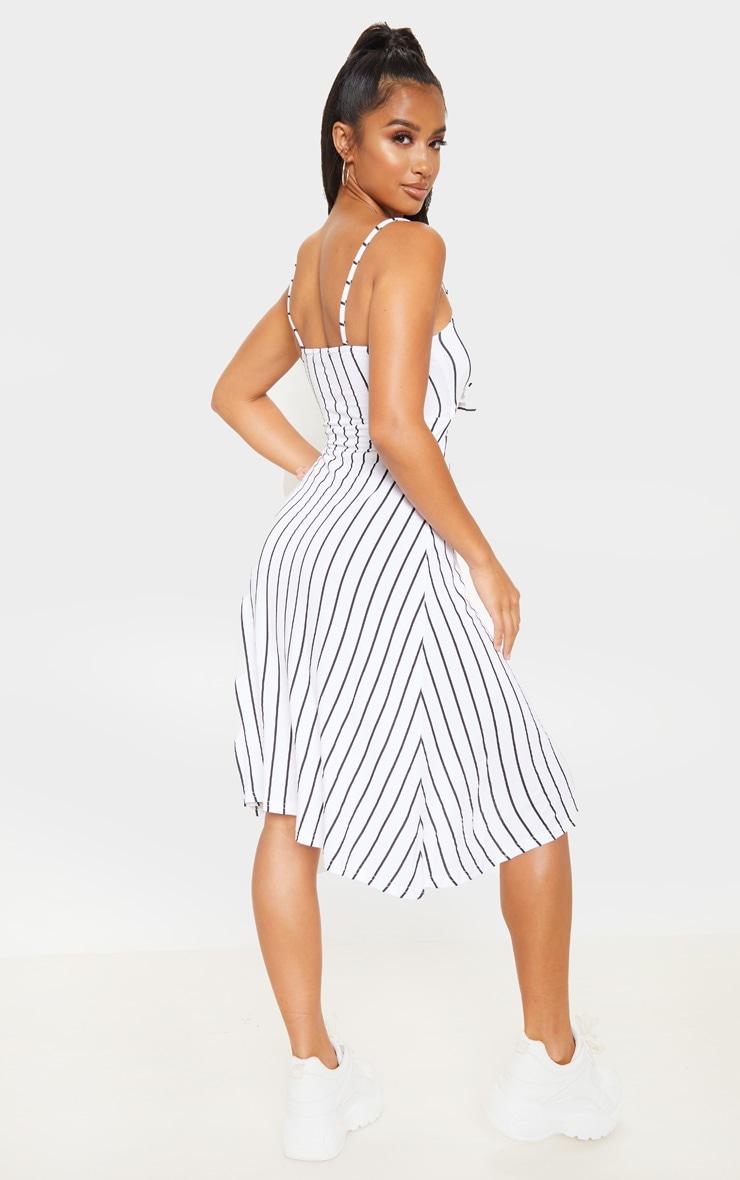 Petite White Stripe Tie Front Strappy Swing Dress 2