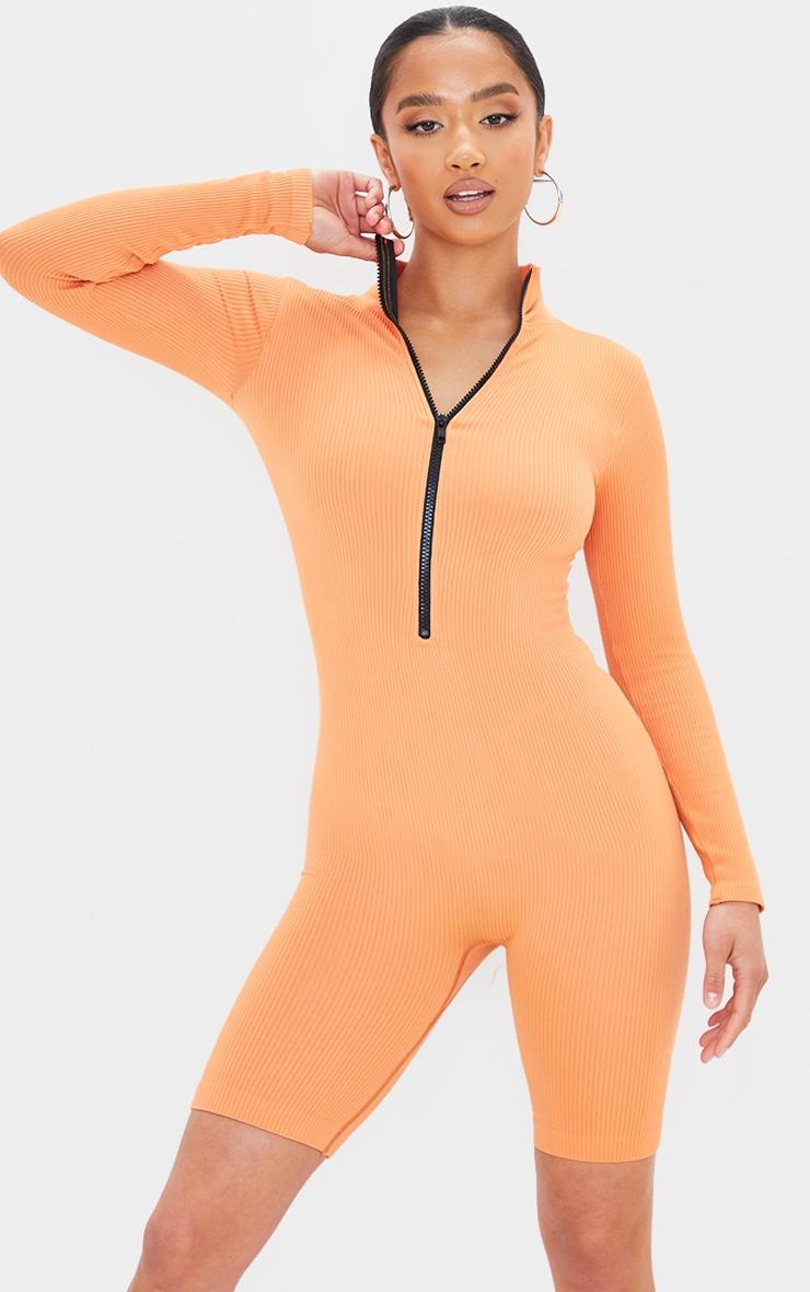 Petite Burnt Orange Contour Ribbed Unitard 3