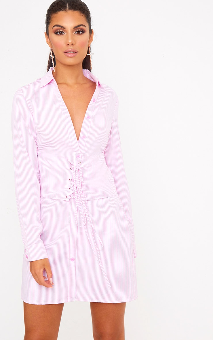 Pink Corset Lace Up Open Shirt Dress 1