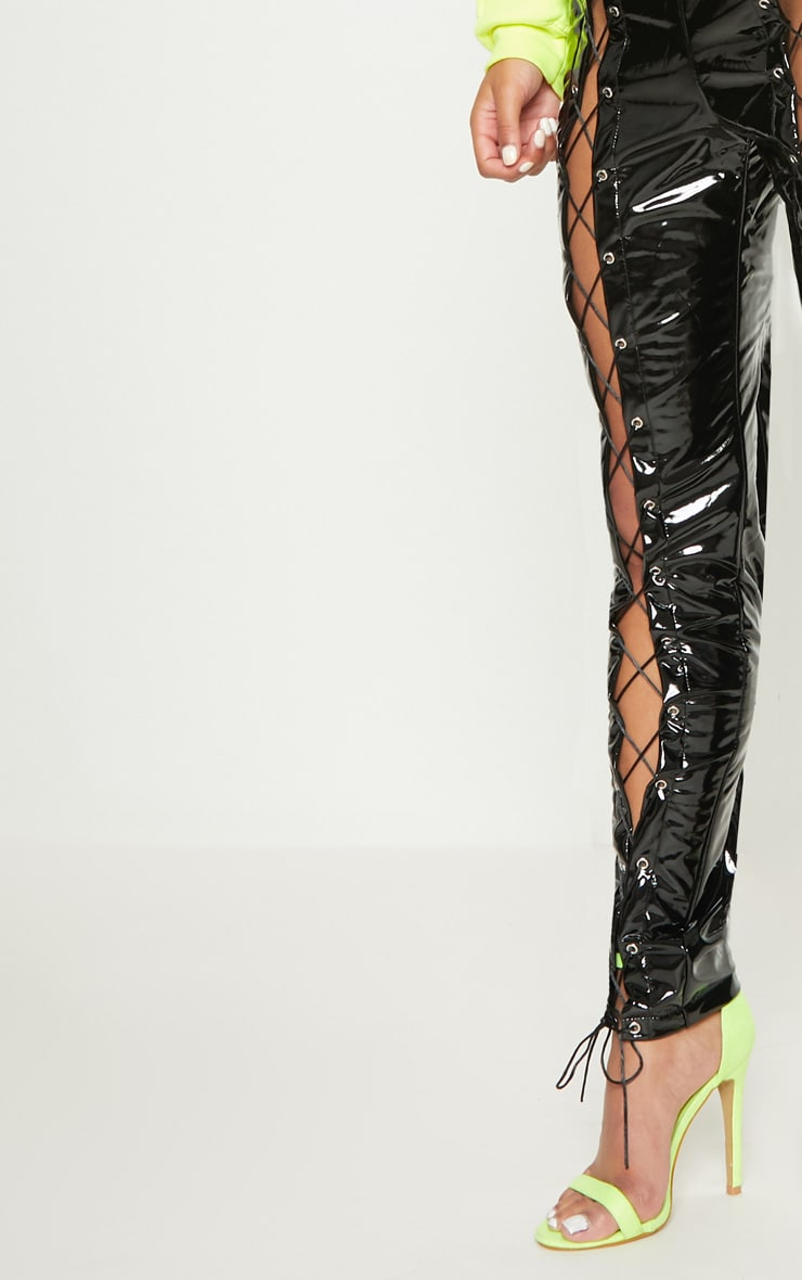 Black Vinyl Lace Up Detail Trouser 5