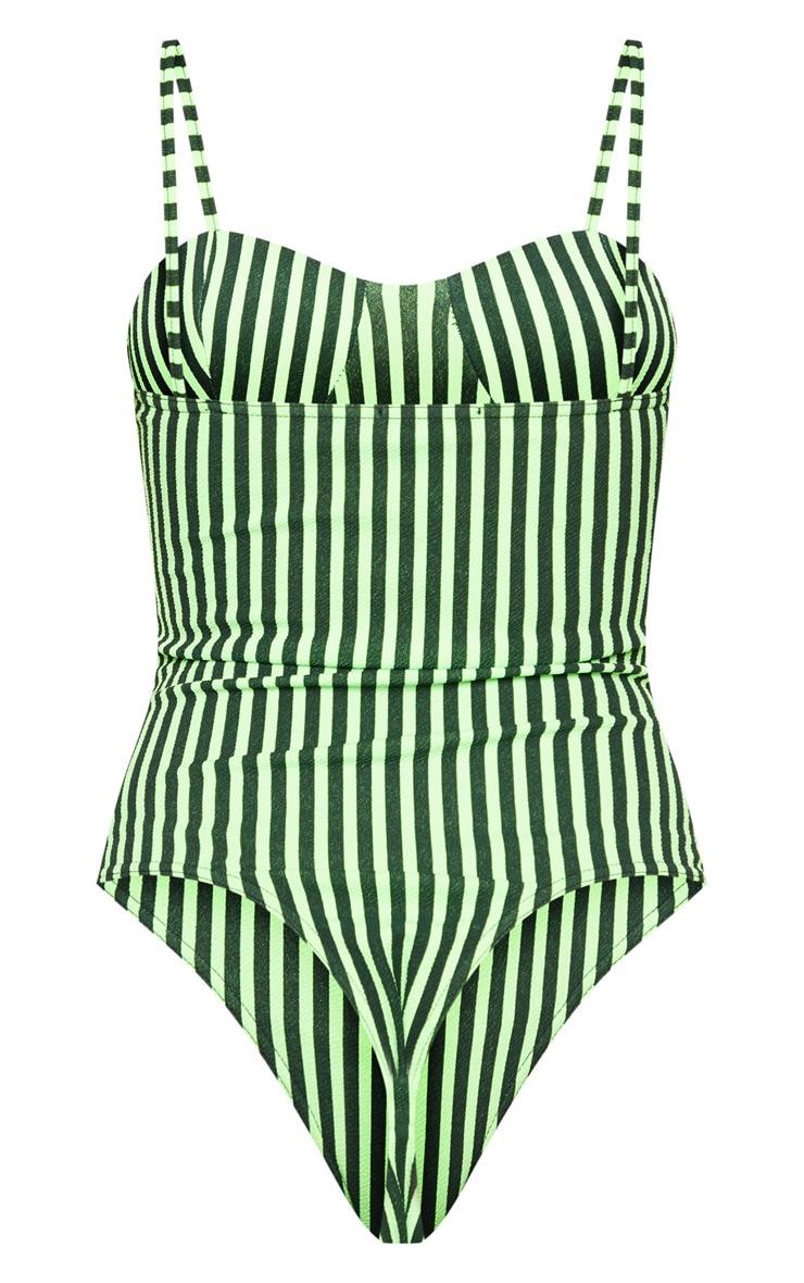 Neon Green Stripe Cup Detail Bodysuit 4