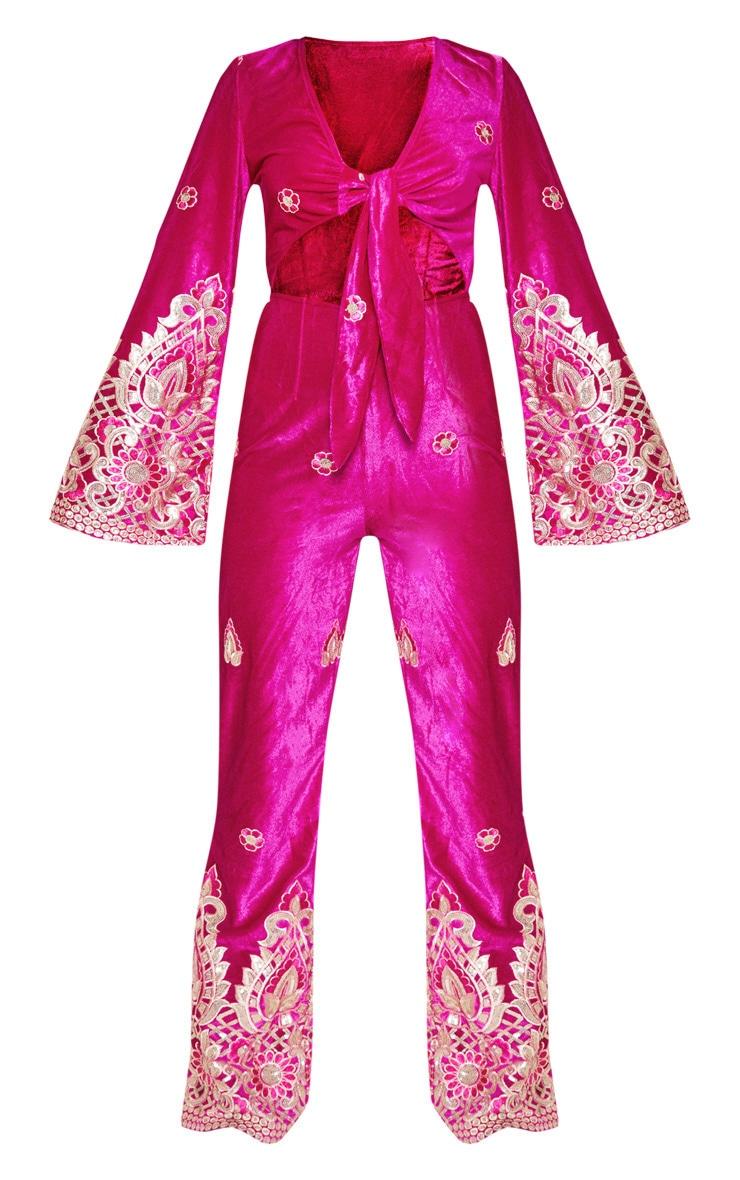Fuchsia Velvet Paisley Embroidered Tie Front Jumpsuit 3