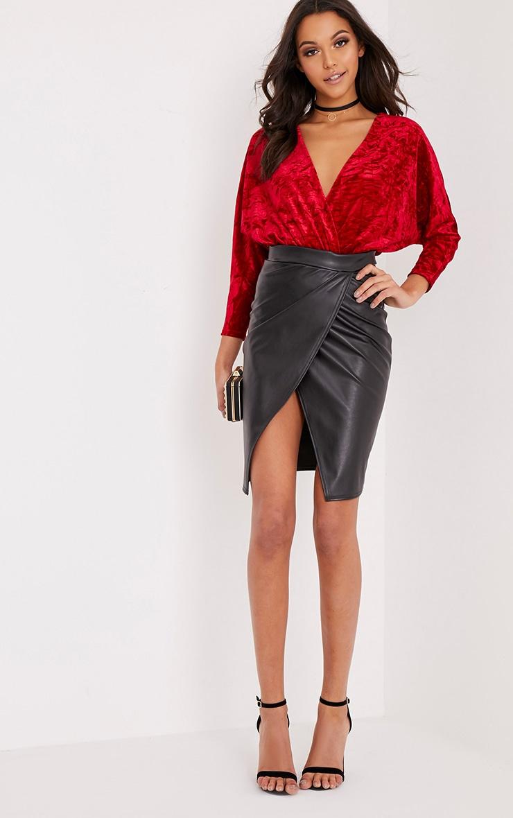 Adelle Red Crushed Velvet Plunge Long Sleeve Thong Bodysuit 6