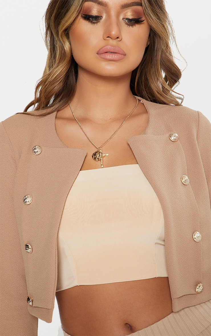 Camel Military Cropped Jacket 6