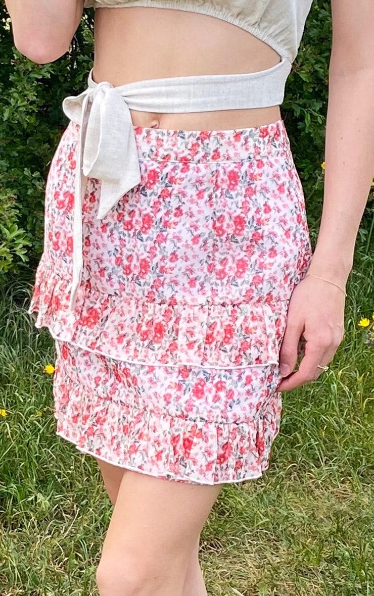 Peach Chiffon Floral Frill Hem Mini Skirt 5