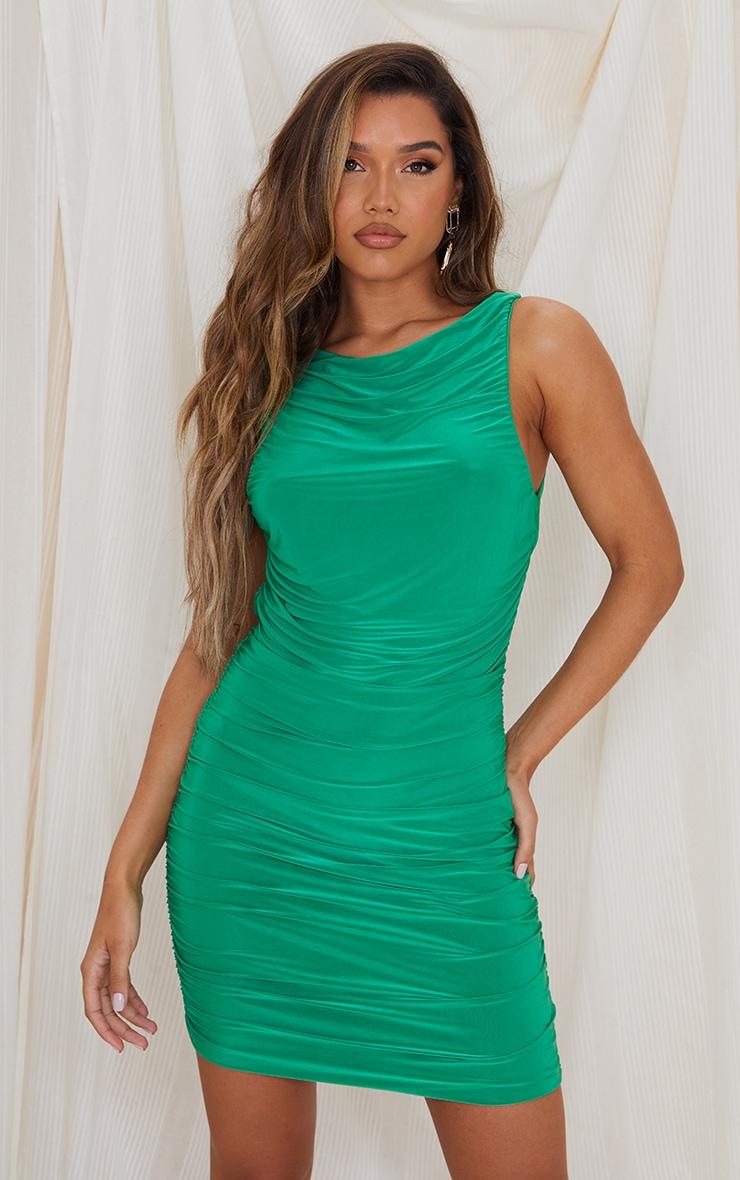 Green Slinky Ruched Side Seam Sleeveless Bodycon Dress 1